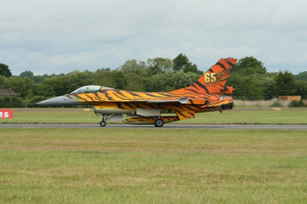Belgian Tiger-striped F-16 at RIAT 2016