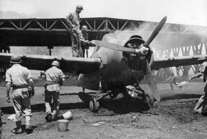 Marines extinguishing fire on Guadalcanal F4F after it was damaged in a Japanese air raid