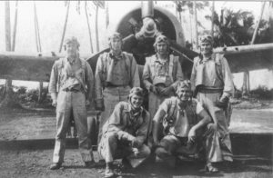 W. C. Wethe, Tom Mann, Lowell Grow, Art Hehf, D. C. Owen and D. K. Allan were VMF-121 pilots on Guadalcanal