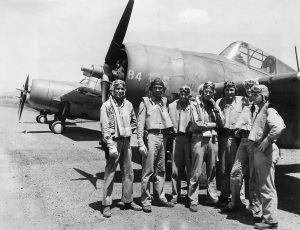 VMF-121 pilots on Guadalcanal