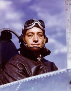 John Smith in color photo of him in F4F cockpit